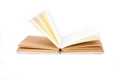 Blocco note con le pagine aperte su fondo bianco Fotografia Stock Libera da Diritti