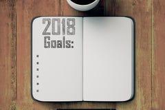 Blocco note con una lista di 2018 scopi Immagine Stock Libera da Diritti