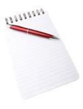 Blocco note e penna Immagini Stock Libere da Diritti