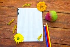 Blocco note a spirale in bianco con le matite, la pera ed i fiori immagini stock