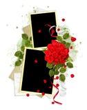 Blocco per grafici bianco con le rose rosse sui precedenti bianchi royalty illustrazione gratis