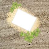Blocco per grafici in bianco della foto nella struttura della spiaggia della sabbia Immagini Stock Libere da Diritti