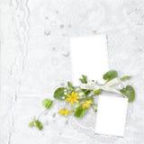 Blocco per grafici bianco di eleganza con i fiori gialli immagini stock libere da diritti