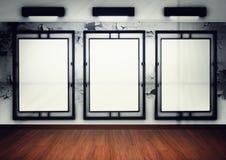 Blocco per grafici in bianco in galleria. 3d rendono Fotografia Stock