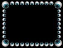 Blocco per grafici blu dei bulbi oculari sul nero Immagini Stock