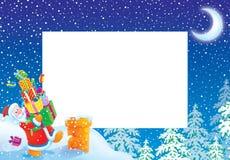 Blocco per grafici/bordo della foto di natale con il Babbo Natale Immagini Stock