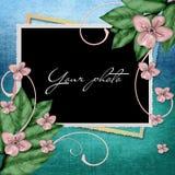 Blocco per grafici decorativo con i fiori Fotografia Stock