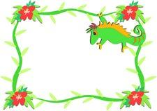 Blocco per grafici dei fiori dell'ibisco e del Chameleon Immagini Stock