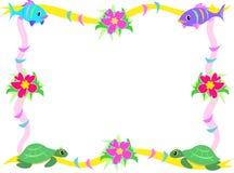 Blocco per grafici dei pesci, dell'ibisco e delle tartarughe di mare Immagine Stock