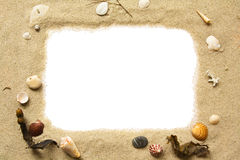 Blocco per grafici dei seashells e della sabbia fotografia stock