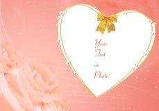 Blocco per grafici del biglietto di S. Valentino con cuore e le rose Immagini Stock Libere da Diritti