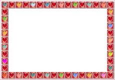 Blocco per grafici del biglietto di S. Valentino con i cuori colorati pastello Fotografia Stock