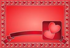 Blocco per grafici del biglietto di S. Valentino con i cuori ed il nastro Fotografia Stock