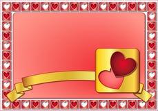 Blocco per grafici del biglietto di S. Valentino con i cuori ed il nastro dorato Immagini Stock