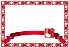Blocco per grafici del biglietto di S. Valentino con i cuori ed il nastro rossi Immagine Stock Libera da Diritti