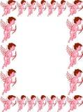 Blocco per grafici del bordo di giorno dei biglietti di S. Valentino del Cupid fotografie stock libere da diritti