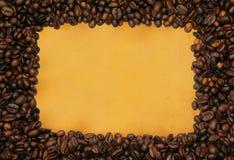 Blocco per grafici del caffè su documento ingiallito fotografie stock