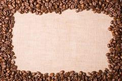 Blocco per grafici del caffè su tela di canapa fotografia stock