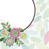 Blocco per grafici del cerchio con i fiori ed i fogli Fotografia Stock