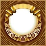 Blocco per grafici del cerchio dell'annata dell'oro con il nastro Fotografie Stock Libere da Diritti