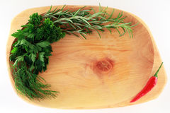 Blocco per grafici del condimento su una zolla di woodden Immagini Stock Libere da Diritti