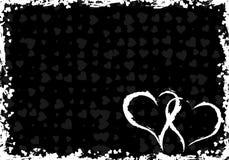 Blocco per grafici del grunge dei biglietti di S. Valentino con i cuori illustrazione vettoriale