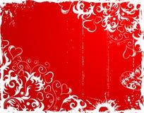 Blocco per grafici del grunge di giorno dei biglietti di S. Valentino con i cuori ed il fiore illustrazione vettoriale