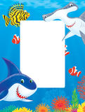 Blocco per grafici del mare con gli squali ed i pesci Immagini Stock Libere da Diritti