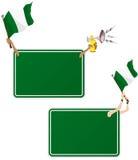 Blocco per grafici del messaggio di sport della Nigeria con la bandierina. Immagine Stock