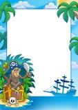 Blocco per grafici del pirata con la scimmia Immagini Stock Libere da Diritti