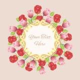 Blocco per grafici dell'annata con i fiori illustrazione di stock