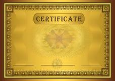 Blocco per grafici dell'oro del certificato Fotografie Stock