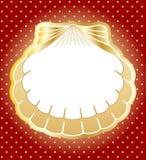 Blocco per grafici dell'oro fatto delle conchiglie. Fondo di vettore illustrazione di stock