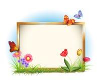 Blocco per grafici della foto con i fiori della sorgente Fotografia Stock Libera da Diritti