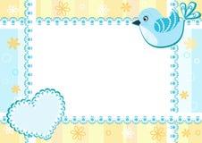 Blocco per grafici della foto del bambino con l'uccello. Fotografia Stock