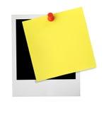 Blocco per grafici della foto e nota gialla Immagini Stock Libere da Diritti