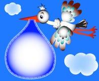 Blocco per grafici della scuola materna per la cicogna e la nube della foto Fotografia Stock