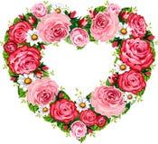 Blocco per grafici delle rose del cuore Fotografia Stock