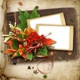Blocco per grafici di autunno con i fogli sul vecchio album Immagini Stock Libere da Diritti