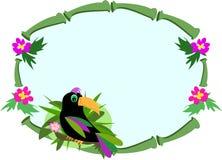 Blocco per grafici di bambù con l'uccello di Toucan Fotografia Stock Libera da Diritti