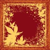 Blocco per grafici di Grunge con i fogli di autunno. Ringraziamento Immagine Stock