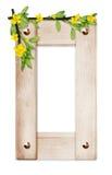 Blocco per grafici di legno con i fiori e le filiali Fotografia Stock