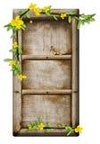 Blocco per grafici di legno con i fiori e le filiali fotografie stock