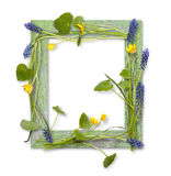 Blocco per grafici di legno decorato dai fiori della sorgente Immagini Stock Libere da Diritti
