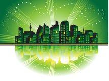 Blocco per grafici di paesaggio urbano, siluette illustrazione di stock