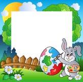 Blocco per grafici di Pasqua con l'artista del coniglietto Fotografia Stock Libera da Diritti