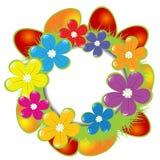 Blocco per grafici di Pasqua con le uova ed i fiori Fotografie Stock Libere da Diritti