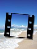 Blocco per grafici di pellicola di bella spiaggia sabbiosa Fotografia Stock Libera da Diritti