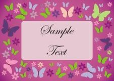 blocco per grafici di scheda con le farfalle ed i fiori Immagine Stock Libera da Diritti