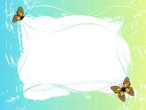 Blocco per grafici di verde blu con le farfalle Fotografia Stock Libera da Diritti